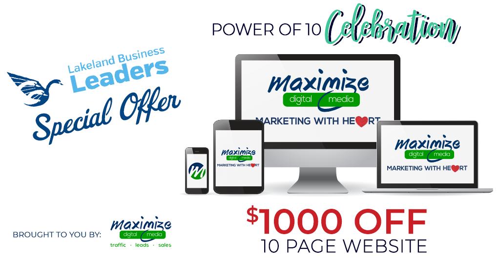 , Maximize Digital Media Power of 10 Celebration $1000 Off Website